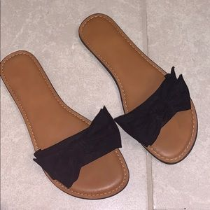 Black and brown leather sandals